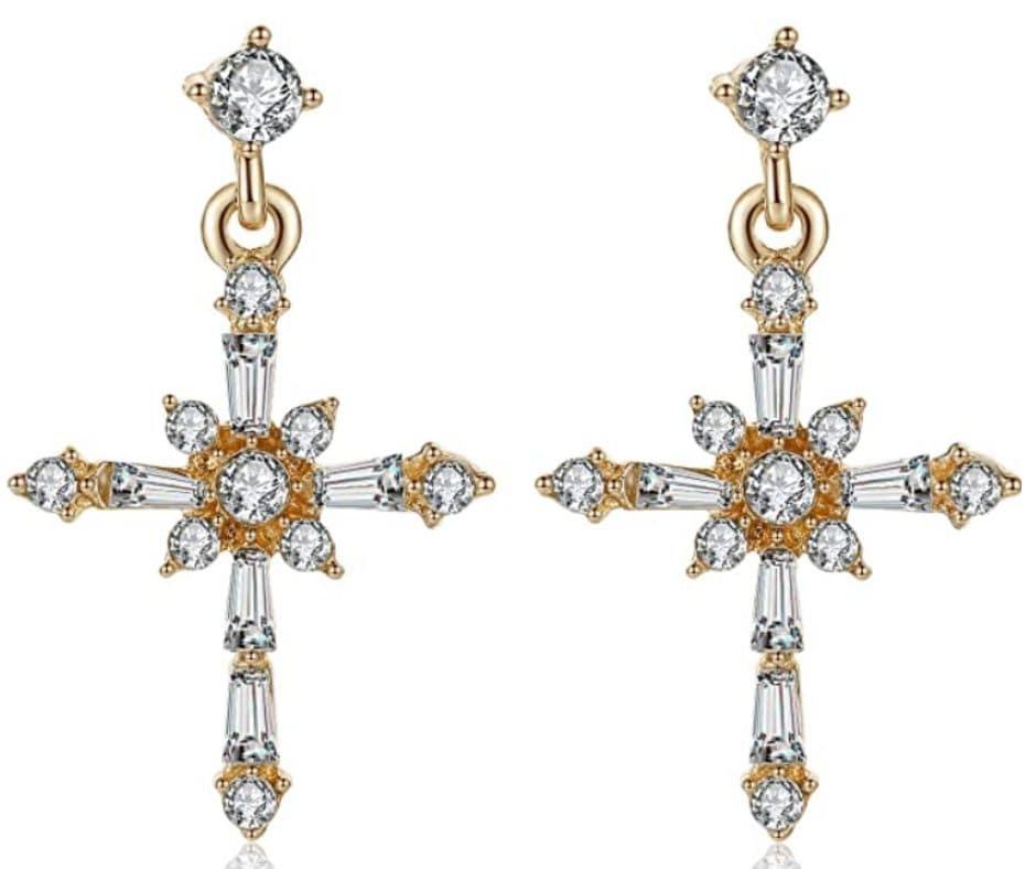 Cross Jesus Christ Sparkling Earrings