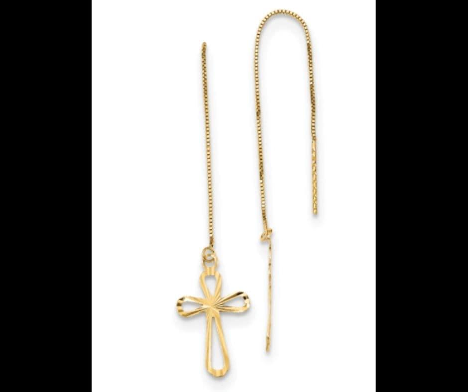 Threader Earrings with Cross Earrings