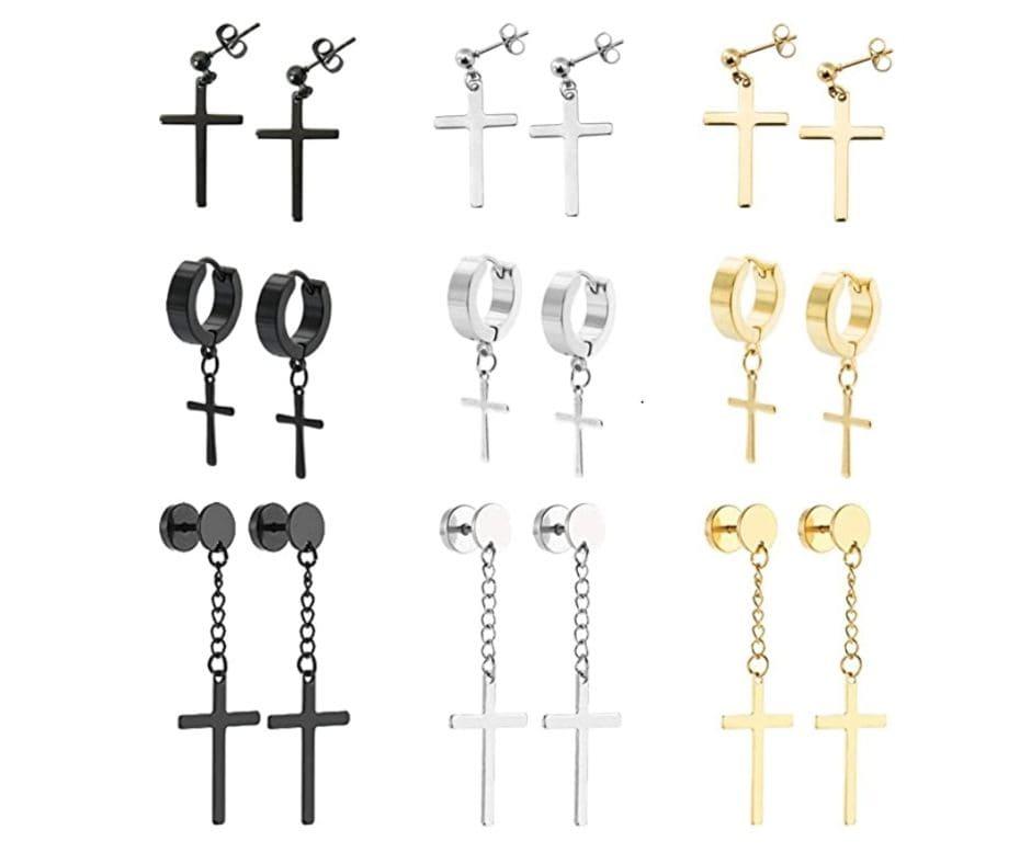 Stainless Steel Cross Hoop Earrings