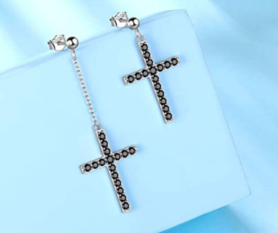 Sterling Silver Black Metal Cross Earrings