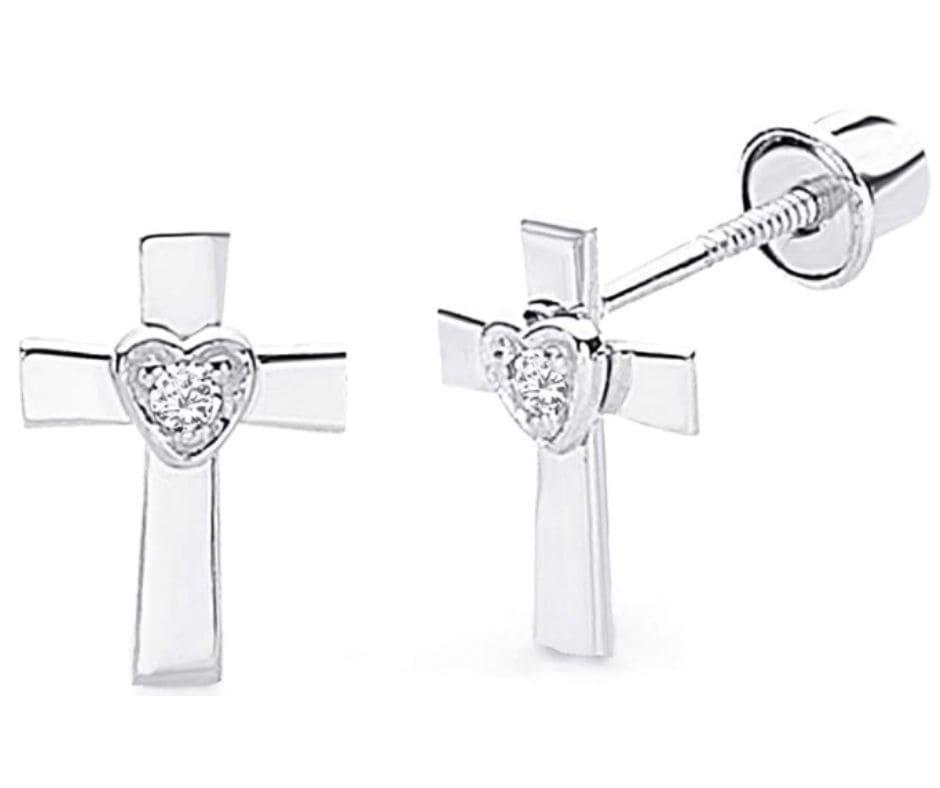 14k White & Yellow Gold Cross Heart Stud Earrings