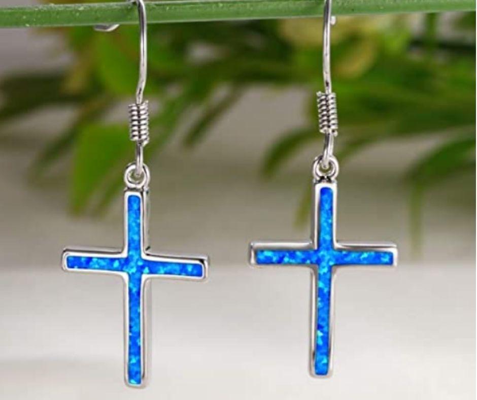 Blue Opal Drop Dangle Earrings For Women
