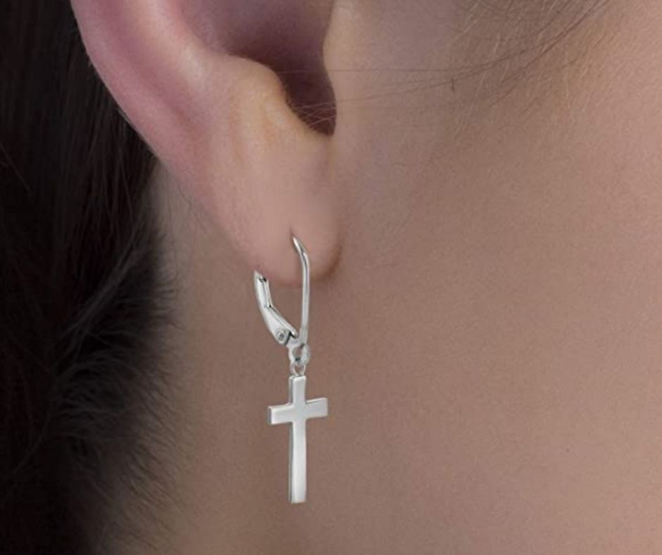 MIA SARINE Sterling Silver High Polished Dangling Cross Earrings for Women