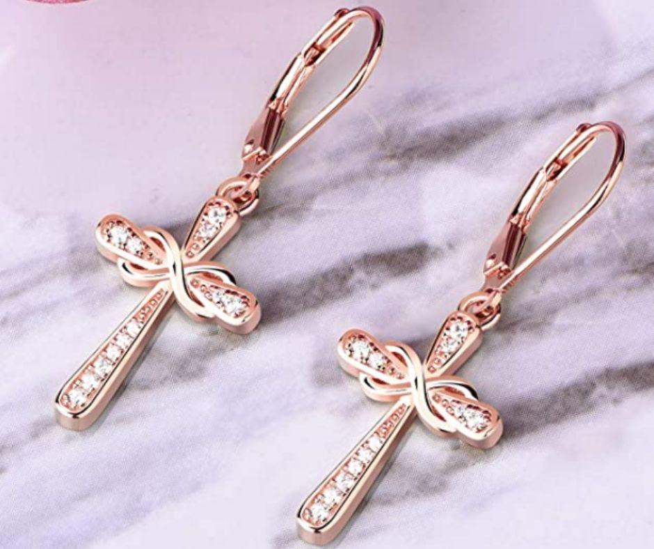 925 Sterling Silver Cross Earrings