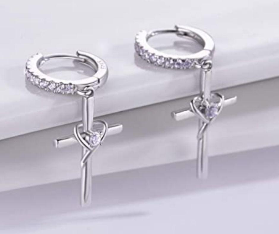 Silver Birthstone Heart Cross Earring For Teen Girls